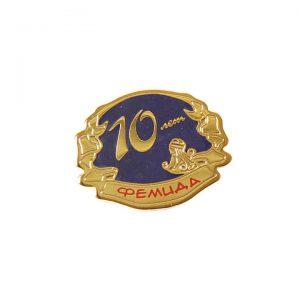 значок металлический штамповка твердые эмали фемида